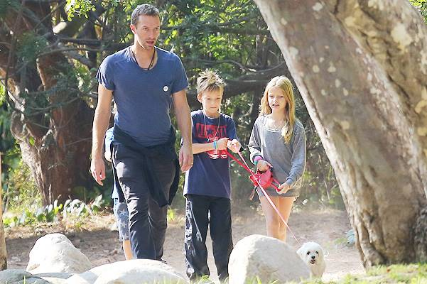 *EXCLUSIVE* Chris Martin walks the dog with his kids