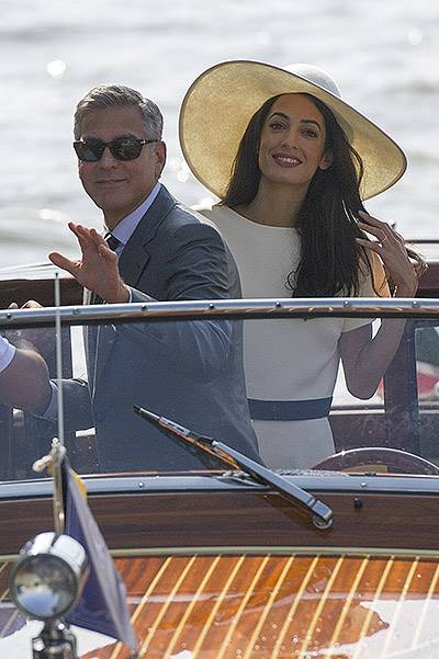 George and Amal leaving Venice