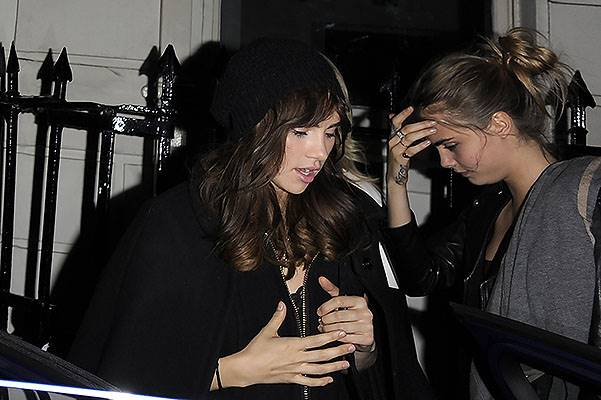 Cara Delevingne and Suki Waterhouse leaving The Arts Club in London