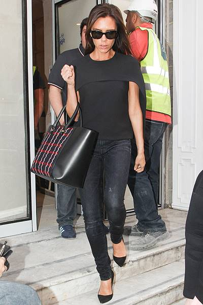Victoria Beckham pictured leaving her shop on Dover Street, London, UK