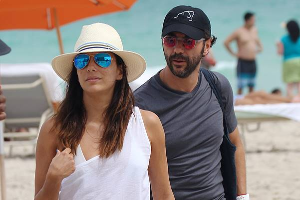 Eva Longoria and Jose Antonio Baston at the beach in Miami