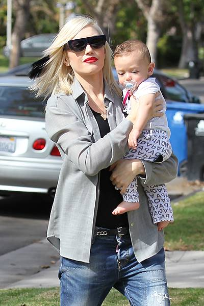 Gwen Stefani and Apollo visit the acupuncture clinic in Los Angeles, CA