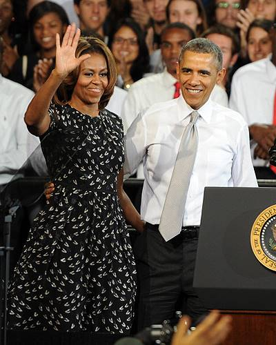 President Obama And First Lady Speak at Miami High School