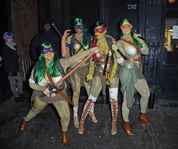 Rihanna steps out dressed as a ninja turtle for Halloween as she heads to the nightclub with her friends in Meatpacking, NYC