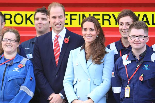 The Duke and Duchess of Cambridge visit the Pembroke Refinery in Hundleton, Wales Featuring: Kate Middleton, Catherine Duchess of Cambridge, Prince William, Duke of Cambridge Where: Hundleton, United Kingdom When: 08 Nov 2014 Credit: WENN.com