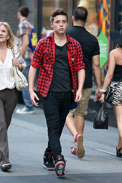 EXCLUSIVE: Brooklyn Beckham spotted walking around with his grandparents in New York City