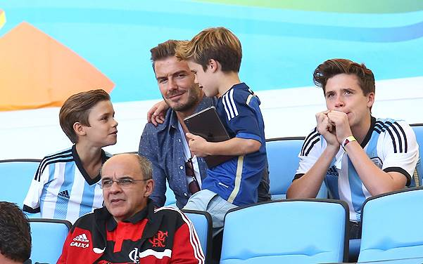 Celebrities attending the 2014 FIFA World Cup Brazil Final match between Germany and Argentina at Maracana Stadium (Estadio Maracana) Featuring: David Beckham, Brooklyn Beckham, Romeo Beckham, Cruz Beckham Where: Rio de Janeiro, Brazil When: 13 Jul 2014