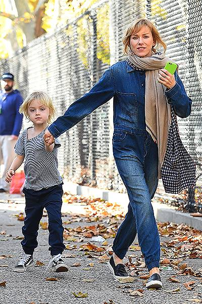 Naomi Watts and son Samuel have a playful exchange on the set of 'Three Generations' in New York City