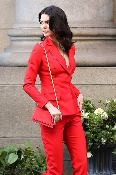 INF - Kendall Jenner stunning in bright red at a photoshoot