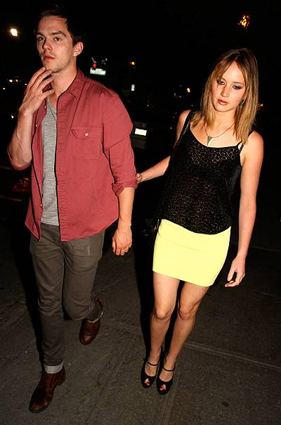 EXCLUSIVE: Jennifer Lawrence and Nicholas Hoult arriving together at a party in Montreal, Canada