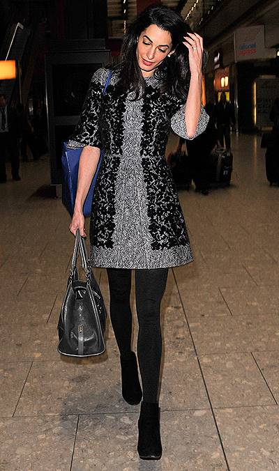 Amal Clooney seen arriving at London Heathrow Airport