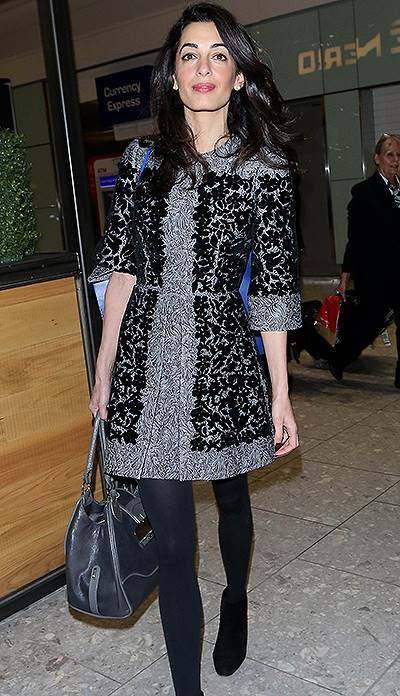 INF - Amal Alamuddin seen at Heathrow Airport